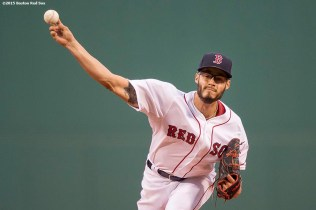 """Boston Red Sox pitcher Joe Kelly delivers during the first inning of a game against the Toronto Blue Jays at Fenway Park in Massachusetts Monday, April 27, 2015."""