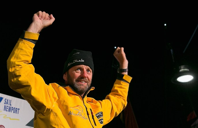 NEWPORT, RI - MAY 07: In this handout image provided by the Volvo Ocean Race, Abu Dhabi boat captain Ian Walker celebrates a second place finish during the finish of Leg 6 from Itajai to Newport on May 7, 2015 in Newport, Rhode Island. The Volvo Ocean Race 2014-15 is the 12th running of this ocean marathon. Starting from Alicante in Spain on October 11, 2014, the route, spanning some 39,379 nautical miles, visits 11 ports in eleven countries (Spain, South Africa, United Arab Emirates, China, New Zealand, Brazil, United States, Portugal, France, The Netherlands and Sweden) over nine months. The Volvo Ocean Race is the world's premier ocean yacht race for professional racing crews. (Photo by Billie Weiss / Volvo Ocean Race via Getty Images)