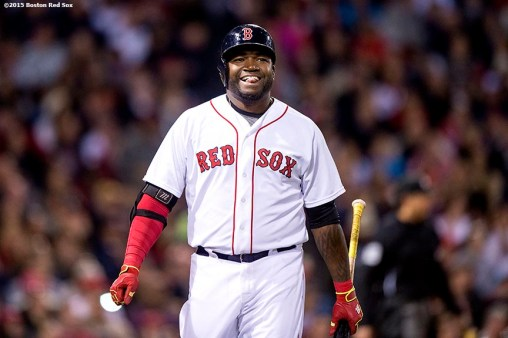 """Boston Red Sox designated hitter David Ortiz reacts during the seventh inning of a game against the Texas Rangers at Fenway Park in Boston, Massachusetts Saturday, May 23, 2015."""