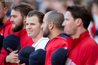 """""""Brock Holt looks on before a game between the Boston Red Sox and the Texas Rangers at Fenway Park in Boston, Massachusetts Saturday, May 23, 2015."""""""
