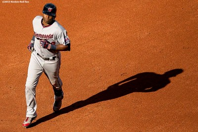 """""""Minnesota Twins right fielder Torii Hunter rounds the bases after hitting a home run during a game against the Boston Red Sox at Fenway Park in Boston, Massachusetts Thursday, June 4, 2015."""""""