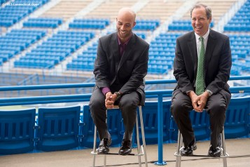 """Former ATP World Tour star and Connecticut Open Legends Event Participant James Blake and Vice President of State Government Relations for United Technologies Peter Holland laugh during a press conference at the Connecticut Tennis Center to announce the new Connecticut Open 50/50 Project and the renewal of United Technologies sponsorship of the tournament through the 2017 in New Haven, Connecticut Tuesday, June 9, 2015."""