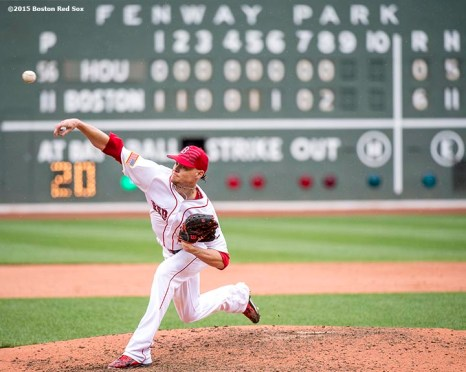 """Boston Red Sox pitcher Clay Buchholz delivers during the ninth inning of a game against the Houston Astros at Fenway Park in Boston, Massachusetts Saturday, July 4, 2015. Buchholz pitched a complete game, allowing one run."""