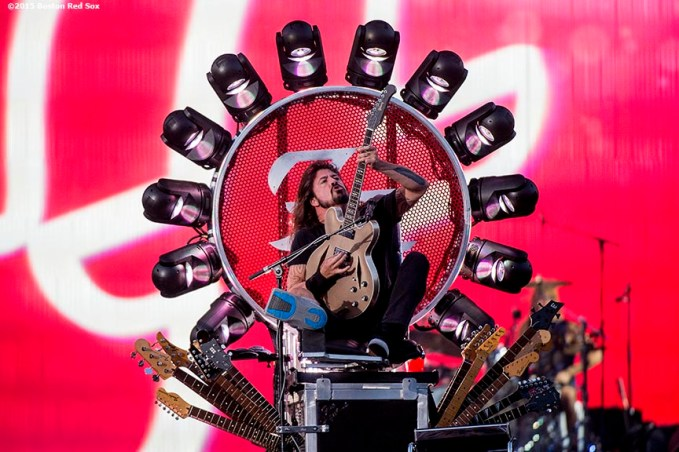 """Lead singer Dave Grohl of the Foo Fighters performs during a concert at Fenway Park in Boston, Massachusetts Saturday, July 18, 2015. """