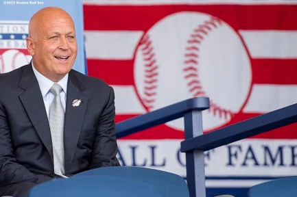"""Hall of Famer Cal Ripken Jr. is introduced at the plaque ceremony during the 2015 Hall of Fame weekend at the National Baseball Hall of Fame in Cooperstown, New York Sunday, July 26, 2015."""