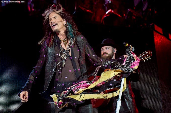 BOSTON, MA - AUGUST 9: Singer Steven Tyler of Aerosmith performs with The Zac Brown Band at Fenway Park on Sunday, August 9, 2015 in Boston, Massachusetts. (Photo by Billie Weiss/MLB Photos via Getty Images) *** Local Caption ***