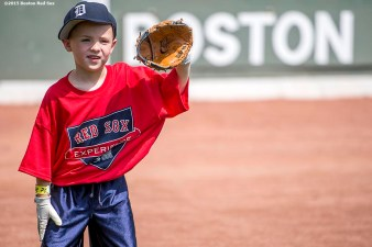 """""""A participant takes part in a fielding drill during a Sox Talk clinic at Fenway Park in Boston, Massachusetts Wednesday, August 19, 2015."""""""
