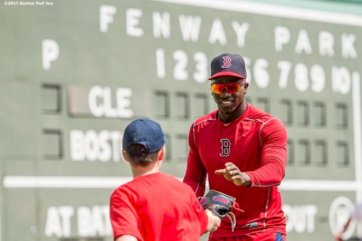 """""""Boston Red Sox right fielder Rusney Castillo participates in a fielding drill during a Sox Talk clinic at Fenway Park in Boston, Massachusetts Wednesday, August 19, 2015."""""""