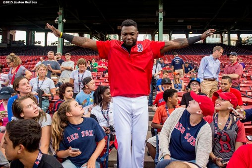 """""""Boston Red Sox designated hitter David Ortiz greets patients during a Jimmy Fund meet and greet at Fenway Park in Boston, Massachusetts Saturday, August 22, 2015."""""""