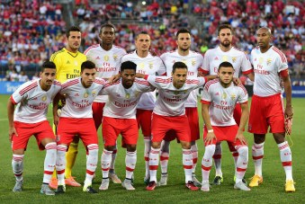 EAST HARTFORD, CT - JULY 24: Members of SL Benfica pose for a photograph before an International Champions Cup 2015 match against ACF Fiorentina at Rentschler Field on July 24, 2015 in East Hartford, Connecticut. (Photo by Billie Weiss/Getty Images)
