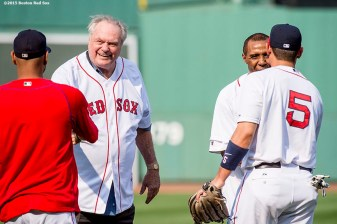"""2015 NBA Hall of Fame inductees Tommy Heinsohn and Jo Jo White react after throwing out a ceremonial first pitch before a game between the Boston Red Sox and the New York Yankees at Fenway Park in Boston, Massachusetts Wednesday, September 2, 2015."""