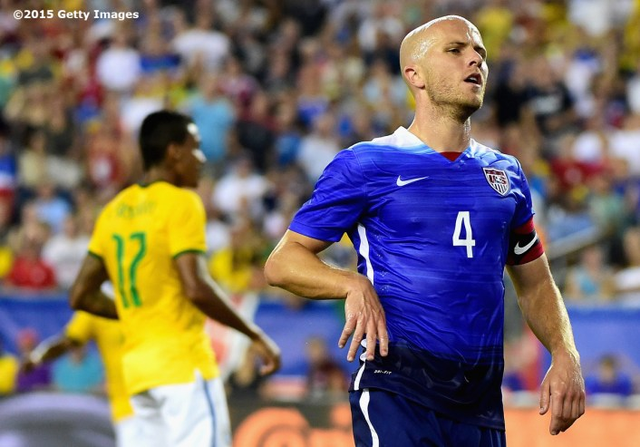 FOXBORO, MA - SEPTEMBER 08: Michael Bradley #4 of the United States reacts after missing a shot on goal during an international friendly against Brazil at Gillette Stadium on September 8, 2015 in Foxboro, Massachusetts. (Photo by Billie Weiss/Getty Images)