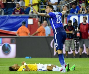 FOXBORO, MA - SEPTEMBER 08: Geoff Cameron #20 of the United States reacts after fouling Neymar #10 of Brazil during an international friendly at Gillette Stadium on September 8, 2015 in Foxboro, Massachusetts. (Photo by Billie Weiss/Getty Images)
