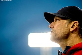 """Interim Manager Torey Lovullo looks on before a game between the Boston Red Sox and the Tampa Bay Rays at Fenway Park in Boston, Massachusetts Tuesday, September 22, 2015."""