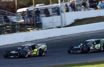 THOMPSON, CT - OCTOBER 18: Doug Coby #2 passes Justin Bonsignore #51 during the NASCAR Whelen Modified Tour SUNOCO World Series 150 at Thompson Speedway on October 18, 2015 in Thompson, Connecticut. (Photo by Billie Weiss/NASCAR/NASCAR via Getty Images)