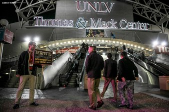 """Registrants enter the UNLV Thomas & Mack Center for the SportsTravel Awards Gala during the TEAMS Conference & Expo Las Vegas, Nevada Wednesday, November 11, 2015."""
