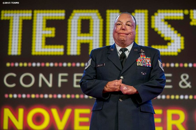"""Israel ""DT"" Del Toro of the US Air Force speaks during the General Session #2: Veterans Day at TEAMS '15 during the TEAMS Conference & Expo at Mandalay Bay Convention Center in Las Vegas, Nevada Wednesday, November 11, 2015."""