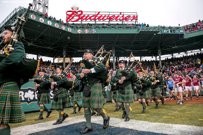 """The Boston Police Gaelic Column and Brian Boru Pipe Band perform in the concourse during the AIG Hurling and Irish Festival at Fenway Park in Boston, Massachusetts Saturday, November 22, 2015."""