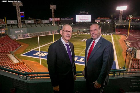 """Daniel S. Mariaschin, Executive Vice President of B'nai B'rith International, and Gary P. Saltzman, President of B'nai B'rith International, pose for a photograph during a B'Nai B'Rith event at Fenway Park in Boston, Massachusetts Tuesday, November 17, 2015."""