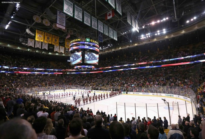 BOSTON, MA - FEBRUARY 08: The starting lineups of Boston College and Boston University during the Beanpot Tournament championship game at TD Garden on February 8, 2016 in Boston, Massachusetts. (Photo by Billie Weiss/Getty Images)