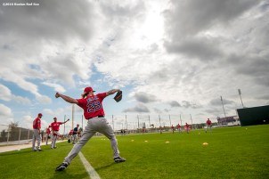 FT. MYERS, FL - FEBRUARY 24: Robbie Ross Jr. #28 of the Boston Red Sox throws during a team workout on February 24, 2016 at Fenway South in Fort Myers, Florida . (Photo by Billie Weiss/Boston Red Sox/Getty Images) *** Local Caption *** Robbie Ross Jr.