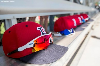 FT. MYERS, FL - FEBRUARY 27: Hats of the Boston Red Sox are shown during a team workout on February 27, 2016 at Fenway South in Fort Myers, Florida . (Photo by Billie Weiss/Boston Red Sox/Getty Images) *** Local Caption ***