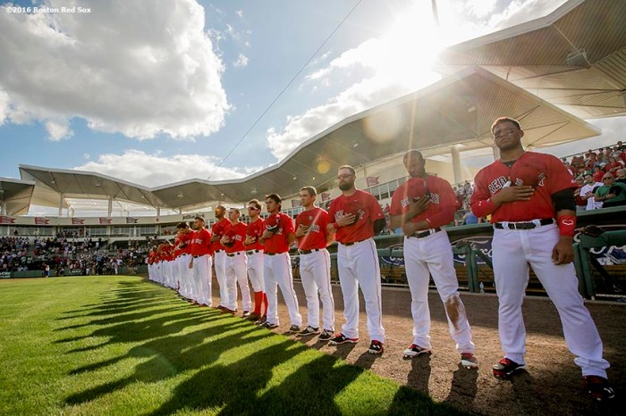 FT. MYERS, FL - FEBRUARY 29: Members of the Boston Red Sox are introduced in an exhibition game against the Northeastern University Huskies on February 29, 2016 at jetBlue Park in Fort Myers, Florida . (Photo by Billie Weiss/Boston Red Sox/Getty Images) *** Local Caption ***