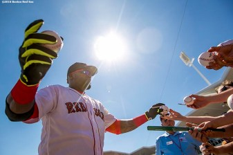 FT. MYERS, FL - MARCH 6: David Ortiz #34 of the Boston Red Sox signs autographs during a Grapefruit League game against the Baltimore Orioles on March 6, 2016 at JetBlue Park at Fenway South in Fort Myers, Florida . (Photo by Billie Weiss/Boston Red Sox/Getty Images) *** Local Caption *** David Ortiz