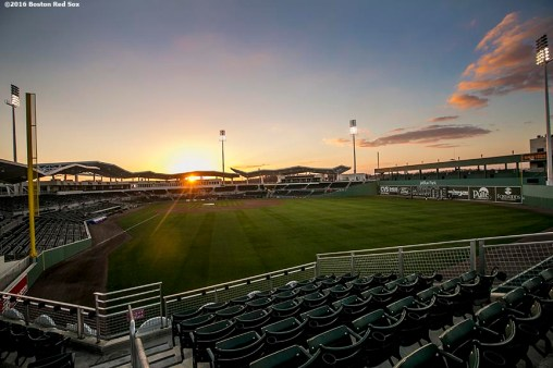 FT. MYERS, FL - MARCH 7: The sun sets after a Grapefruit League game between the Boston Red Sox and the Tampa Bay Rays on March 7, 2016 at JetBlue Park at Fenway South in Fort Myers, Florida . (Photo by Billie Weiss/Boston Red Sox/Getty Images) *** Local Caption ***