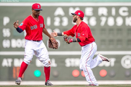FT. MYERS, FL - MARCH 7: Dustin Pedroia #15 and Xander Bogaerts #2 of the Boston Red Sox high five after turning a double play during a Grapefruit League game against the Tampa Bay Rays on March 7, 2016 at JetBlue Park at Fenway South in Fort Myers, Florida . (Photo by Billie Weiss/Boston Red Sox/Getty Images) *** Local Caption *** Dustin Pedroia; Xander Bogaerts
