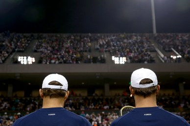 """""""Bob and Mike Bryan sit before a doubles match against Frenando Verdasco and Rafael Nadal during the 2016 BNP Paribas Open at the Indian Wells Tennis Garden in Indian Wells, California Saturday, March 12, 2016."""""""