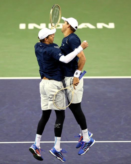 """""""Bob and Mike Bryan in action against Frenando Verdasco and Rafael Nadal during the 2016 BNP Paribas Open at the Indian Wells Tennis Garden in Indian Wells, California Saturday, March 12, 2016."""""""