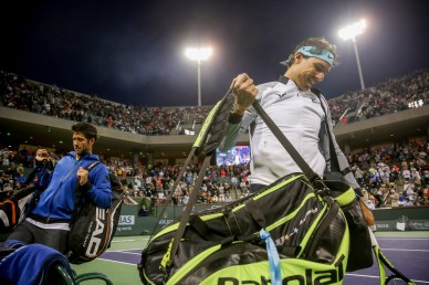 """""""Fernando Verdasco and Rafael Nadal are introduced before a doubles match against Bob and Mike Bryan, during the 2016 BNP Paribas Open at the Indian Wells Tennis Garden in Indian Wells, California Saturday, March 12, 2016."""""""