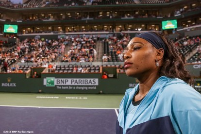 March 18, 2016, Palm Springs, CA: Serena Williams is introduced before the women's semi-final match against Agnieszka Radwanska during the 2016 BNP Paribas Open at the Indian Wells Tennis Garden in Indian Wells, California Friday, March 18, 2016. (Photos by Billie Weiss/BNP Paribas Open)