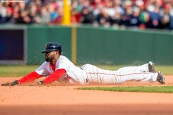 BOSTON, MA - APRIL 11: Jackie Bradley Jr. #25 of the Boston Red Sox slides into second base in the sixth inning against the Baltimore Orioles during the home opener on April 11, 2016 at Fenway Park in Boston, Massachusetts . (Photo by Billie Weiss/Boston Red Sox/Getty Images) *** Local Caption *** Jackie Bradley Jr.