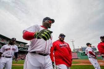 BOSTON, MA - APRIL 11: David Ortiz #34 of the Boston Red Sox walks off the field during the home opener against the Baltimore Orioles on April 11, 2016 at Fenway Park in Boston, Massachusetts . (Photo by Billie Weiss/Boston Red Sox/Getty Images) *** Local Caption *** David Ortiz
