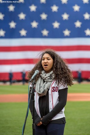 BOSTON, MA - APRIL 11: Alex Ortiz, daughter of David Ortiz #34 of the Boston Red Sox, sings the National Anthem during the home opener against the Baltimore Orioles on April 11, 2016 at Fenway Park in Boston, Massachusetts . (Photo by Billie Weiss/Boston Red Sox/Getty Images) *** Local Caption *** Alex Ortiz