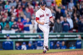 BOSTON, MA - APRIL 16: Craig Kimbrel #46 of the Boston Red Sox reacts during the ninth inning of a game against the Toronto Blue Jays on April 16, 2016 at Fenway Park in Boston, Massachusetts . (Photo by Billie Weiss/Boston Red Sox/Getty Images) *** Local Caption *** Craig Kimbrel