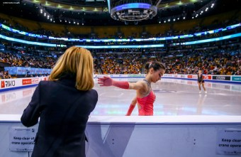 BOSTON, MA - MARCH 31: Ivett Toth of Hungary prepares to compete during Day 4 of the ISU World Figure Skating Championships 2016 at TD Garden on March 31, 2016 in Boston, Massachusetts. (Photo by Billie Weiss - ISU/ISU via Getty Images) *** Local Caption *** Ivett Toth