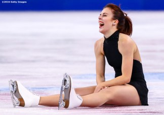 BOSTON, MA - MARCH 31: Ashley Wagner of the United States reacts after tripping after completing the ladies short program during Day 4 of the ISU World Figure Skating Championships 2016 at TD Garden on March 31, 2016 in Boston, Massachusetts. (Photo by Billie Weiss - ISU/ISU via Getty Images) *** Local Caption *** Ashley Wagner