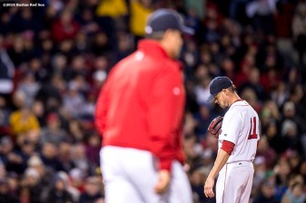 BOSTON, MA - APRIL 28: Clay Buchholz #11 of the Boston Red Sox reacts as manager John Farrell walks to the field to challenge a call during the sixth inning of a game against the Atlanta Braves on April 28, 2016 at Fenway Park in Boston, Massachusetts . (Photo by Billie Weiss/Boston Red Sox/Getty Images) *** Local Caption *** Clay Buchholz; John Farrell