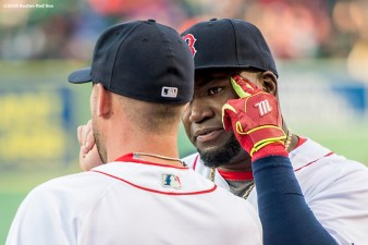 BOSTON, MA - APRIL 30: David Ortiz #34 talks with Travis Shaw #47 of the Boston Red Sox before a game against the New York Yankees on April 30, 2016 at Fenway Park in Boston, Massachusetts . (Photo by Billie Weiss/Boston Red Sox/Getty Images) *** Local Caption *** Travis Shaw; David Ortiz