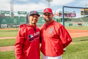 BOSTON, MA - MAY 10: Boston Red Sox right fielder MOokie Betts and former catcher Jason Varitek pose for a photograph before a game against the Oakland Athletics on May 10, 2016 at Fenway Park in Boston, Massachusetts. (Photo by Billie Weiss/Boston Red Sox/Getty Images) *** Local Caption ***
