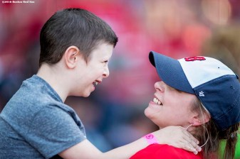 BOSTON, MA - MAY 10: A young fan and his mother embrace before a game between the Boston Red Sox and the Oakland Athletics on May 10, 2016 at Fenway Park in Boston, Massachusetts. (Photo by Billie Weiss/Boston Red Sox/Getty Images) *** Local Caption ***