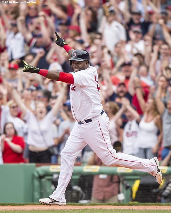 BOSTON, MA - MAY 14: David Ortiz #34 of the Boston Red Sox reacts after hitting a game winning walk-off single during the eleventh inning of a game against the Houston Astros on May 14, 2016 at Fenway Park in Boston, Massachusetts. (Photo by Billie Weiss/Boston Red Sox/Getty Images) *** Local Caption *** David Ortiz