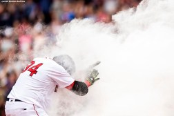 BOSTON, MA - MAY 14: David Ortiz #34 of the Boston Red Sox reacts as he is sprayed with powder after hitting a game winning walk-off single during the eleventh inning of a game against the Houston Astros on May 14, 2016 at Fenway Park in Boston, Massachusetts. (Photo by Billie Weiss/Boston Red Sox/Getty Images) *** Local Caption *** David Ortiz