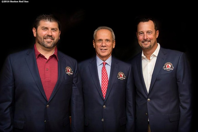 BOSTON, MA - MAY 20: Former Boston Red Sox catcher Jason Varitek, President & CEO Emeritus Larry Lucchino, and former pitcher Tim Wakefield pose for a photograph during a Red Sox Hall of Fame Class of 2016 ceremony before a game between the Boston Red Sox and the Cleveland Indians on May 20, 2016 at Fenway Park in Boston, Massachusetts. (Photo by Billie Weiss/Boston Red Sox/Getty Images) *** Local Caption ***
