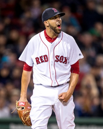 BOSTON, MA - MAY 24: David Price #24 of the Boston Red Sox reacts during the seventh inning of a game against the Colorado Rockies on May 24, 2016 at Fenway Park in Boston, Massachusetts. (Photo by Billie Weiss/Boston Red Sox/Getty Images) *** Local Caption *** David Price