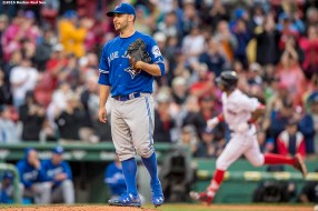 BOSTON, MA - JUNE 5: Marco Estrada #25 of the Toronto Blue Jays reacts after allowing a solo home run to Chris Young #30 of the Boston Red Sox during the seventh inning of a game, breaking up a potential no-hitter, on June 5, 2016 at Fenway Park in Boston, Massachusetts. (Photo by Billie Weiss/Boston Red Sox/Getty Images) *** Local Caption *** Marco Estrada; Chris Young