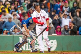 BOSTON, MA - JUNE 5: Marco Hernandez #41 of the Boston Red Sox reacts as he strikes out to end the game against the Toronto Blue Jays on June 5, 2016 at Fenway Park in Boston, Massachusetts. (Photo by Billie Weiss/Boston Red Sox/Getty Images) *** Local Caption *** Marco Hernandez